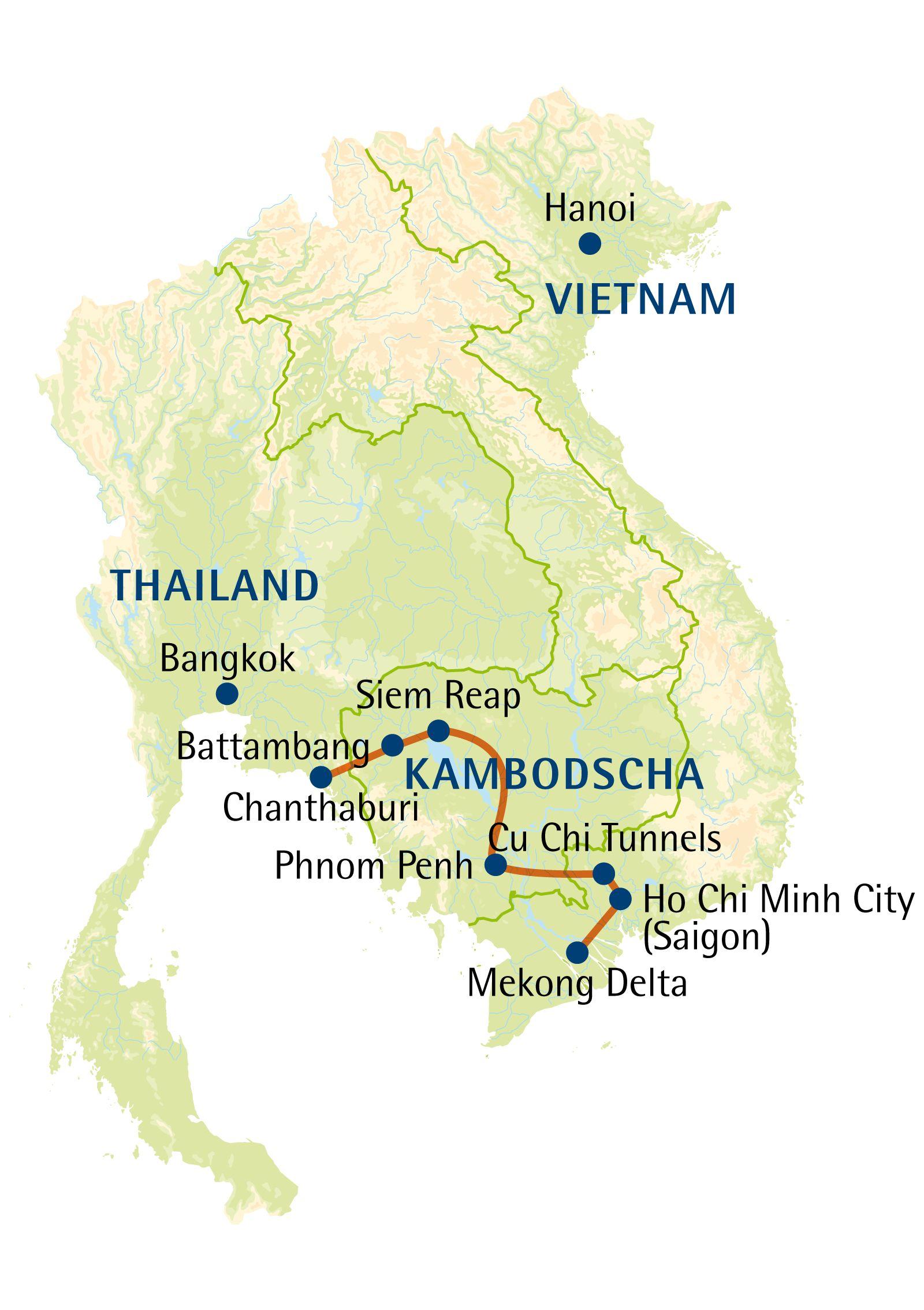 Karte Thailand Kambodscha.Multi Länder Rundreise Privat Vietnam Kambodscha Thailand